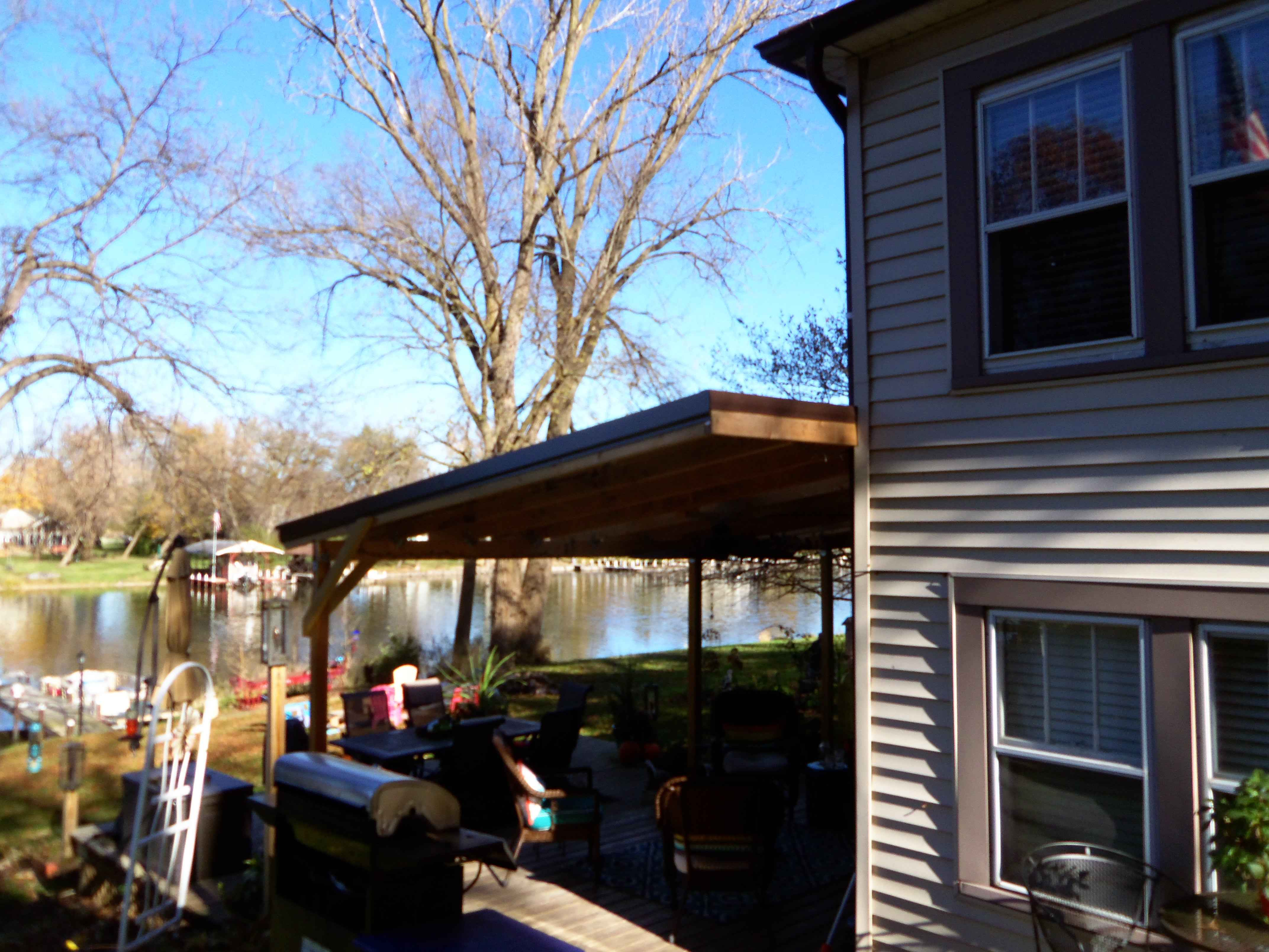 Deck Awning with Skylights and Ceiling Fans